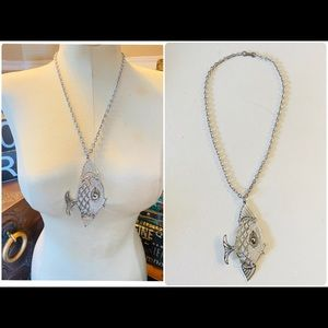 Vintage Silver Fish Pendant Necklace